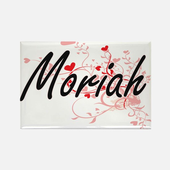 Moriah Artistic Name Design with Hearts Magnets