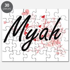 Myah Artistic Name Design with Hearts Puzzle