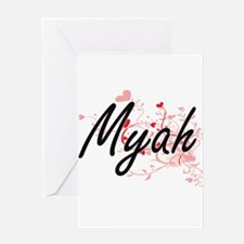 Myah Artistic Name Design with Hear Greeting Cards