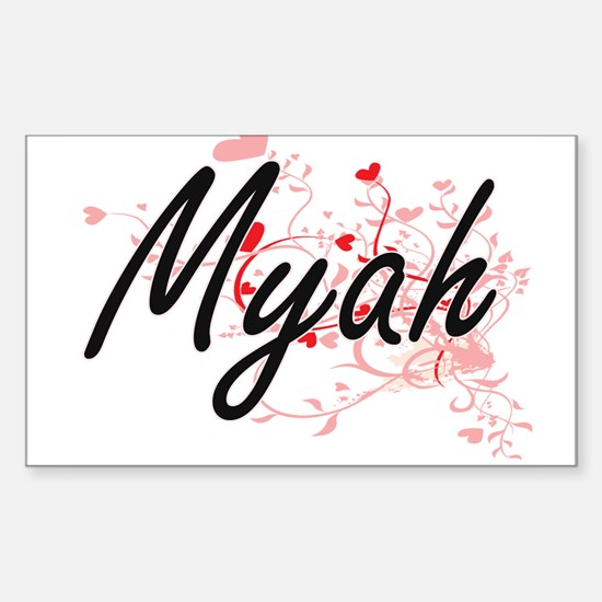 Myah Artistic Name Design with Hearts Decal