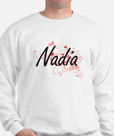Nadia Artistic Name Design with Hearts Sweater