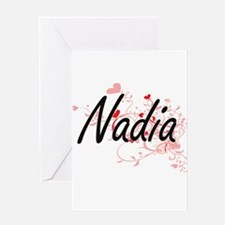 Nadia Artistic Name Design with Hea Greeting Cards
