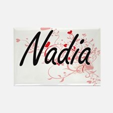 Nadia Artistic Name Design with Hearts Magnets