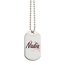 Nadia Artistic Name Design with Hearts Dog Tags