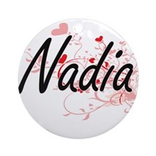 Nadia Artistic Name Design with H Ornament (Round)