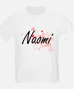 Naomi Artistic Name Design with Hearts T-Shirt