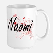 Naomi Artistic Name Design with Hearts Mugs