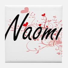 Naomi Artistic Name Design with Heart Tile Coaster