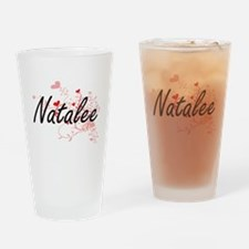 Natalee Artistic Name Design with H Drinking Glass