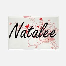 Natalee Artistic Name Design with Hearts Magnets