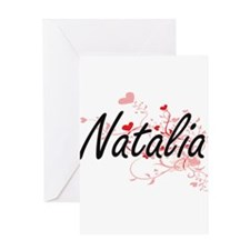 Natalia Artistic Name Design with H Greeting Cards