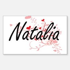 Natalia Artistic Name Design with Hearts Decal