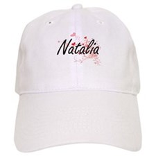 Natalia Artistic Name Design with Hearts Baseball Cap