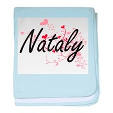 Nataly Artistic Name Design with Hear baby blanket