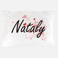 Nataly Artistic Name Design with Heart Pillow Case