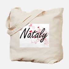 Nataly Artistic Name Design with Hearts Tote Bag