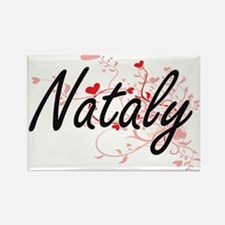 Nataly Artistic Name Design with Hearts Magnets