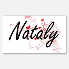 Nataly Artistic Name Design with Hearts Decal