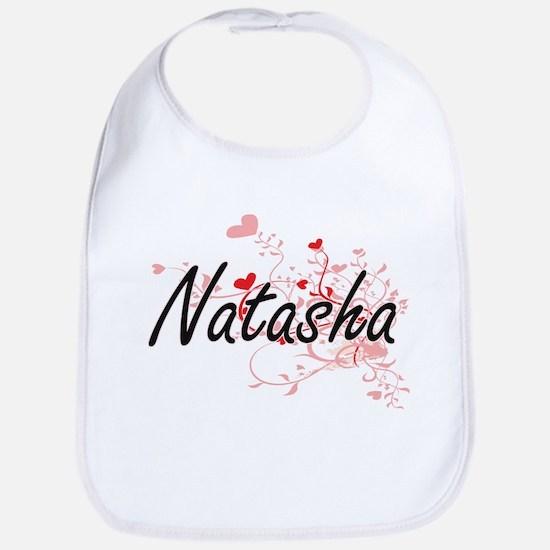 Natasha Artistic Name Design with Hearts Bib