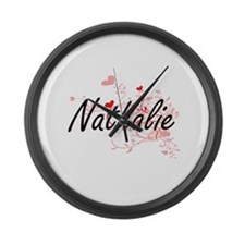 Nathalie Artistic Name Design wit Large Wall Clock
