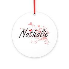 Nathalie Artistic Name Design wit Ornament (Round)