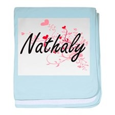 Nathaly Artistic Name Design with Hea baby blanket