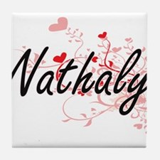 Nathaly Artistic Name Design with Hea Tile Coaster