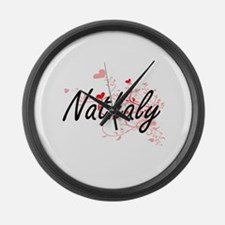Nathaly Artistic Name Design with Large Wall Clock