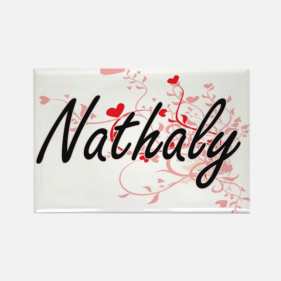 Nathaly Artistic Name Design with Hearts Magnets