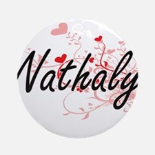 Nathaly Artistic Name Design with Ornament (Round)