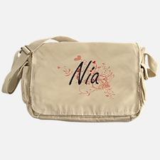 Nia Artistic Name Design with Hearts Messenger Bag
