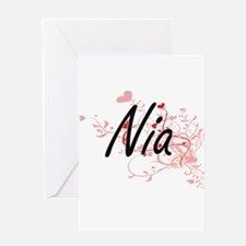 Nia Artistic Name Design with Heart Greeting Cards