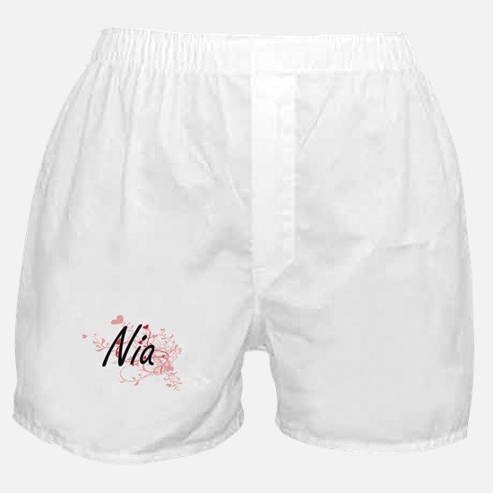 Nia Artistic Name Design with Hearts Boxer Shorts