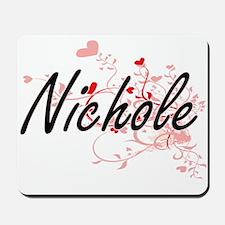 Nichole Artistic Name Design with Hearts Mousepad