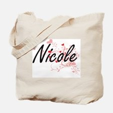 Nicole Artistic Name Design with Hearts Tote Bag
