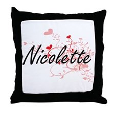 Nicolette Artistic Name Design with H Throw Pillow