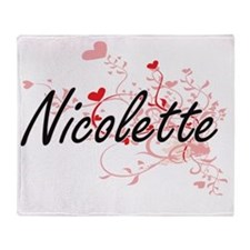 Nicolette Artistic Name Design with Throw Blanket