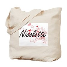 Nicolette Artistic Name Design with Heart Tote Bag