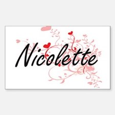Nicolette Artistic Name Design with Hearts Decal