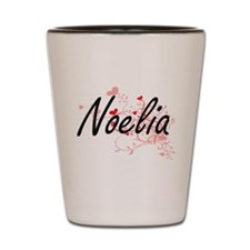 Noelia Artistic Name Design with Hearts Shot Glass