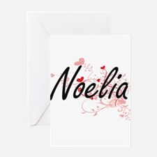 Noelia Artistic Name Design with He Greeting Cards