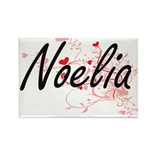 Noelia Artistic Name Design with Hearts Magnets