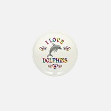 I Love Dolphins Mini Button (10 pack)