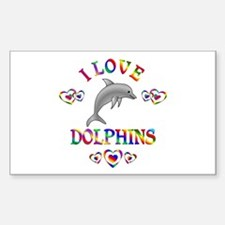 I Love Dolphins Sticker (Rectangle)