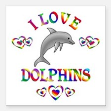 """I Love Dolphins Square Car Magnet 3"""" x 3"""""""