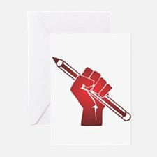 Pencil in a Raised Fist Greeting Cards