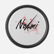 Noemi Artistic Name Design with H Large Wall Clock