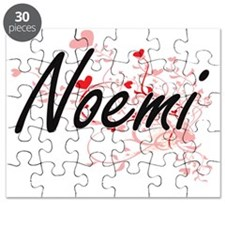 Noemi Artistic Name Design with Hearts Puzzle