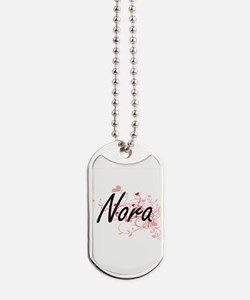 Nora Artistic Name Design with Hearts Dog Tags