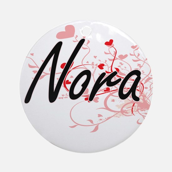 Nora Artistic Name Design with He Ornament (Round)